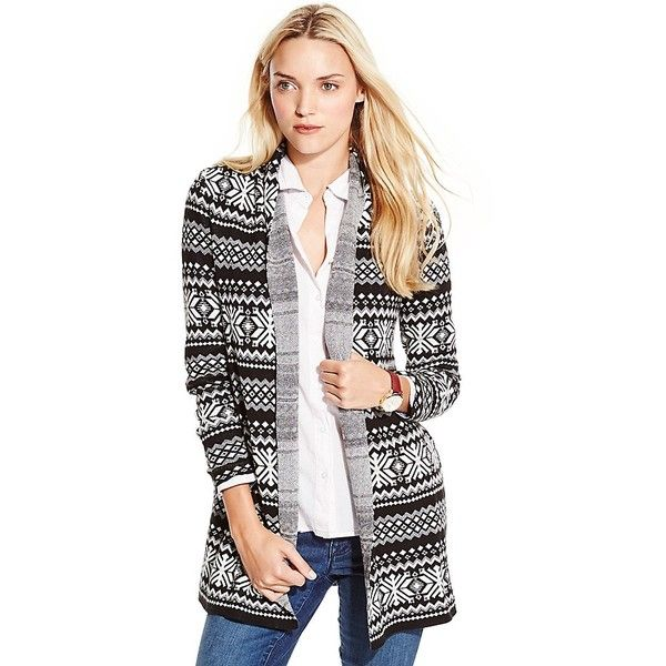 Tommy Hilfiger Fair Isle Open Cardigan ($75) ❤ liked on Polyvore ...