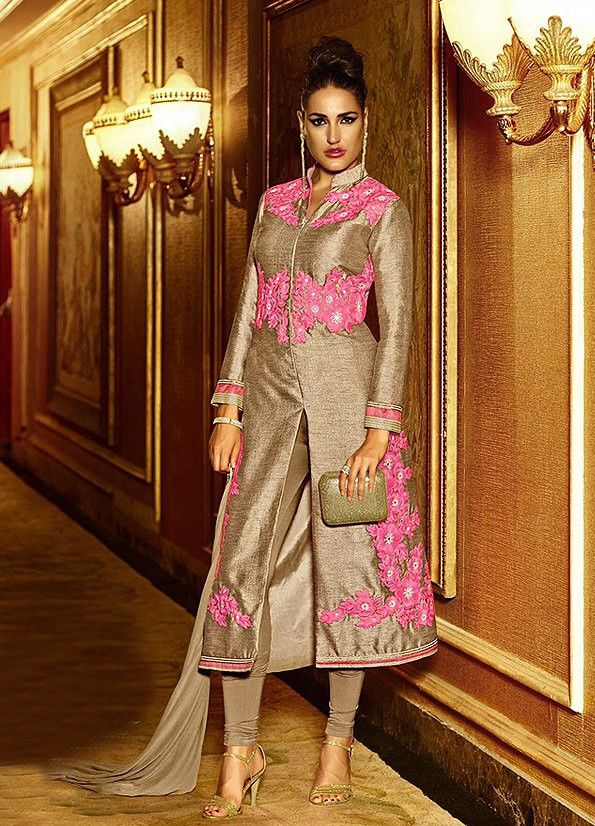 9ca7eb90b Pink Pure Silk Fancy Embroidered Designer Suit #SalwarSuits #snapdeal #India