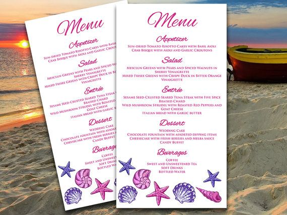 Seashells Beach Wedding Menu Card Microsoft Word Template - Menu Word Template