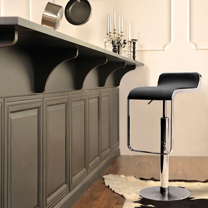 Equino Barstool Black This Barstool Is Constructed From A Matte Silver Base And Solid Chrome Plated Steel Frame T Modern Bar Stools Zm Home Black Bar Stools