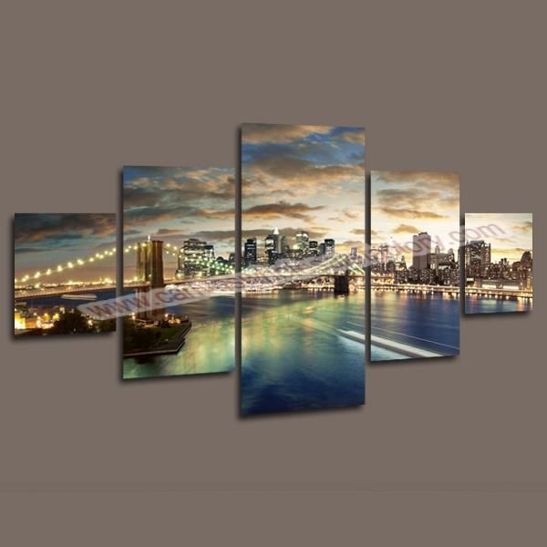 2017 Home Decor Canvas 5 Panel Wall Art Painting Of Manhattan Brooklyn Bridge Picture For The Modern Decorative Paintings From Canvasartprints