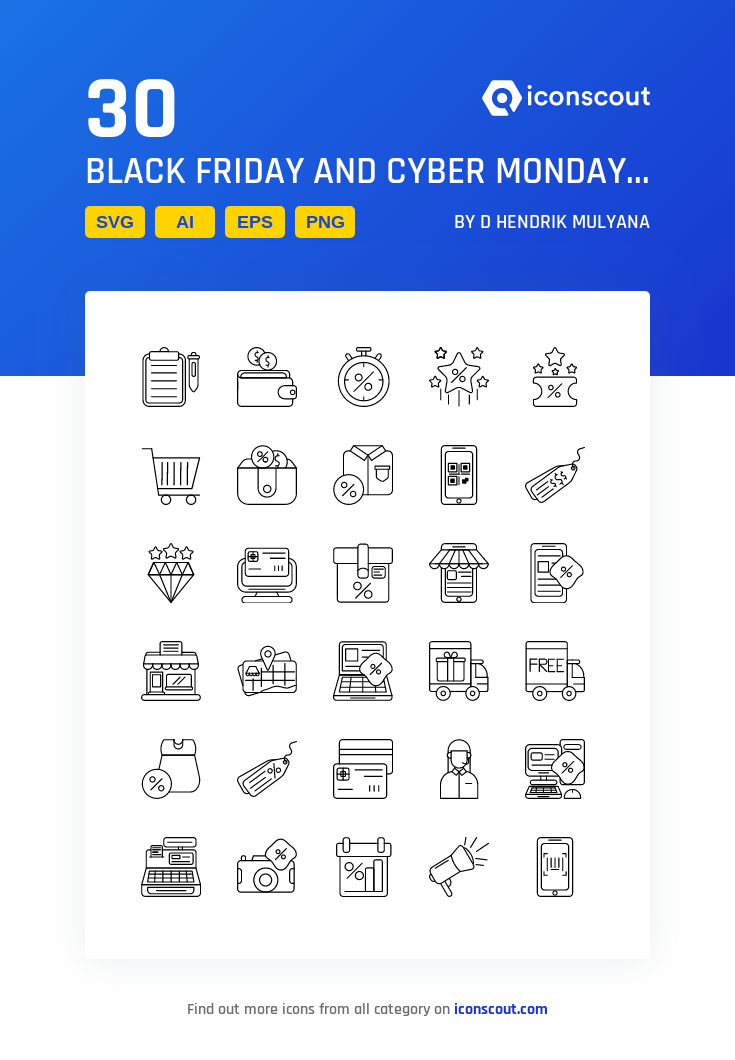 Black Friday And Cyber Monday Icon Pack 30 Line Icons