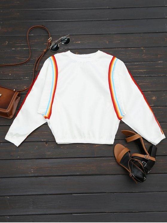 Crew Neck Contrast Sweatshirt - WHITE ONE SIZE
