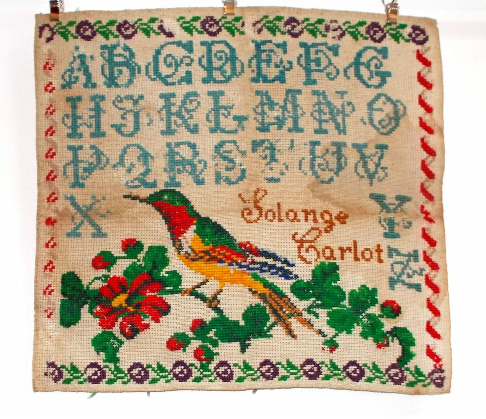 Th century french sampler stitched by solange carlot borduren