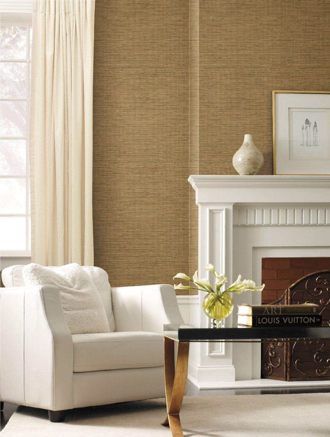 York Wallcoverings By The Sea FN3733 Faux Grasscloth Wallpaper, Light Brown  - Amazon.com