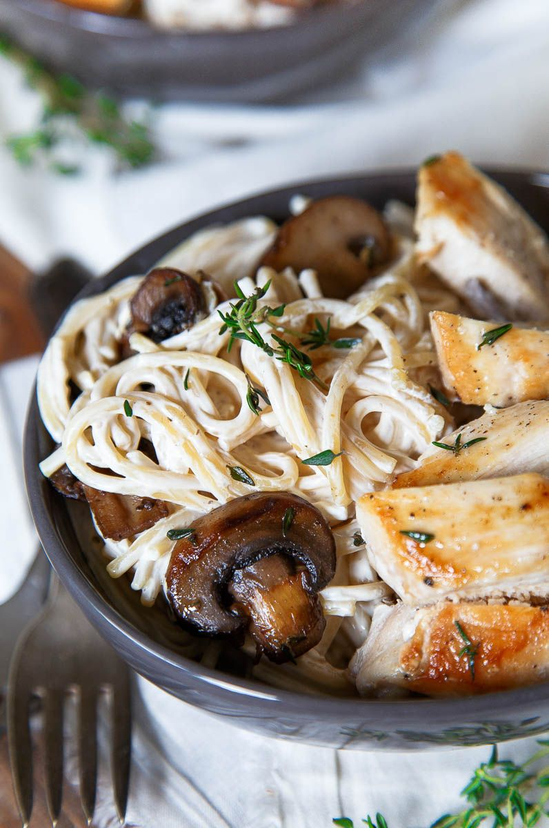 Engagement Pasta: Creamy Mushroom Chicken Pasta for two! VIA Dessert for Two