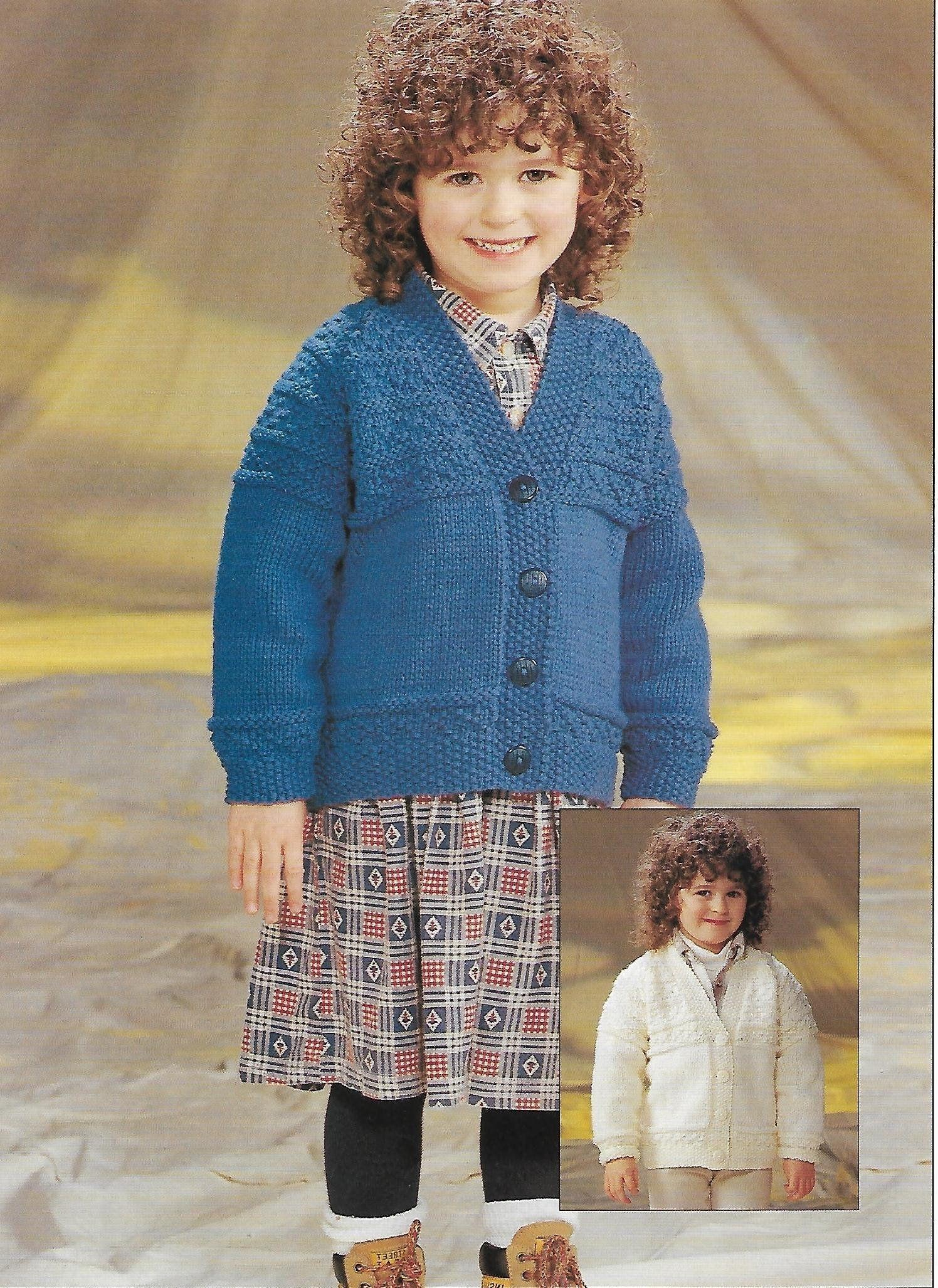 Childrens cardigan knitting pattern pdf childs v neck ...