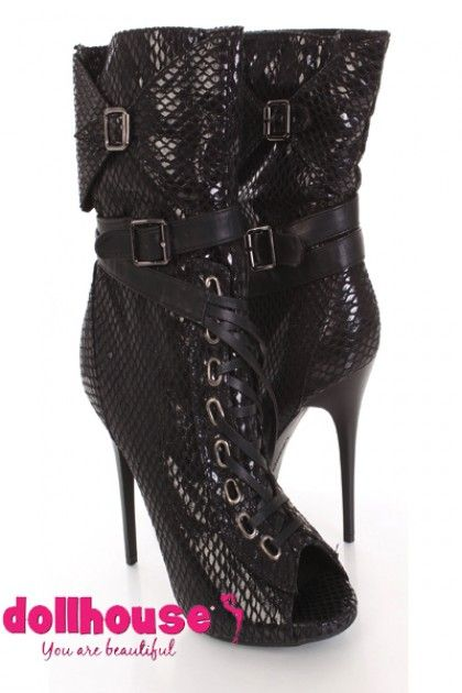 Black Faux Leather Snake Skin Textured Peep Toe Boots $12.99