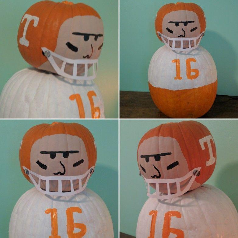 Football player pumpkin go vols painted pumpkin pumpkin