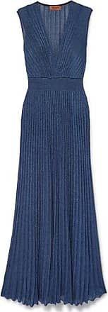 missoni maxikleid aus lurex mit falten  blau  kleider abendkleid anziehsachen