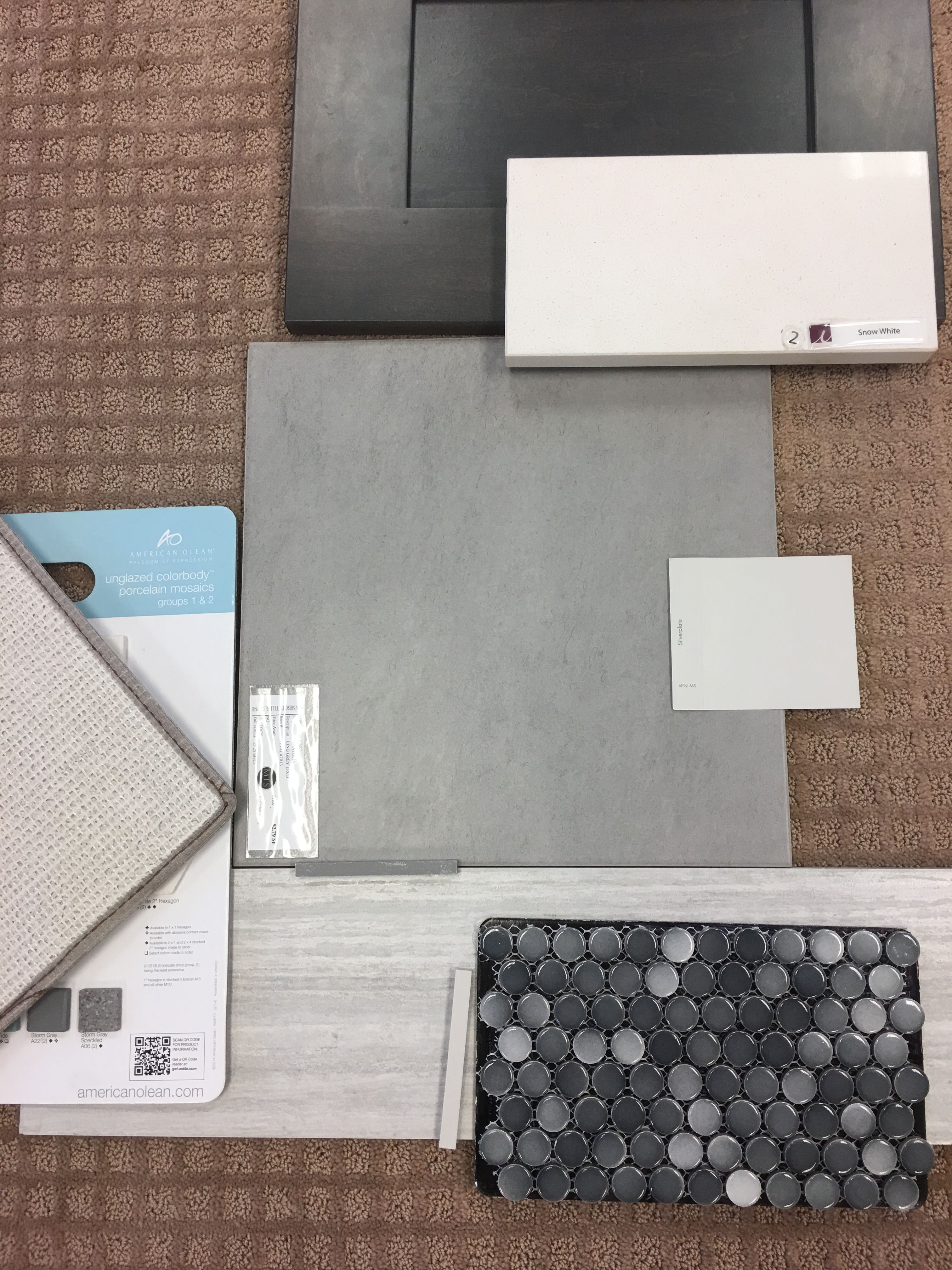 Master Bath Walk In Shower Grey Subway Tile with Grey Ombre Penny