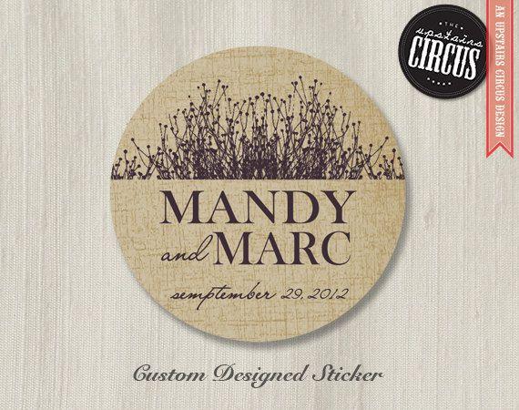 100 custom wedding stickers rustic wildflower wedding labels 2 inch round 25 00