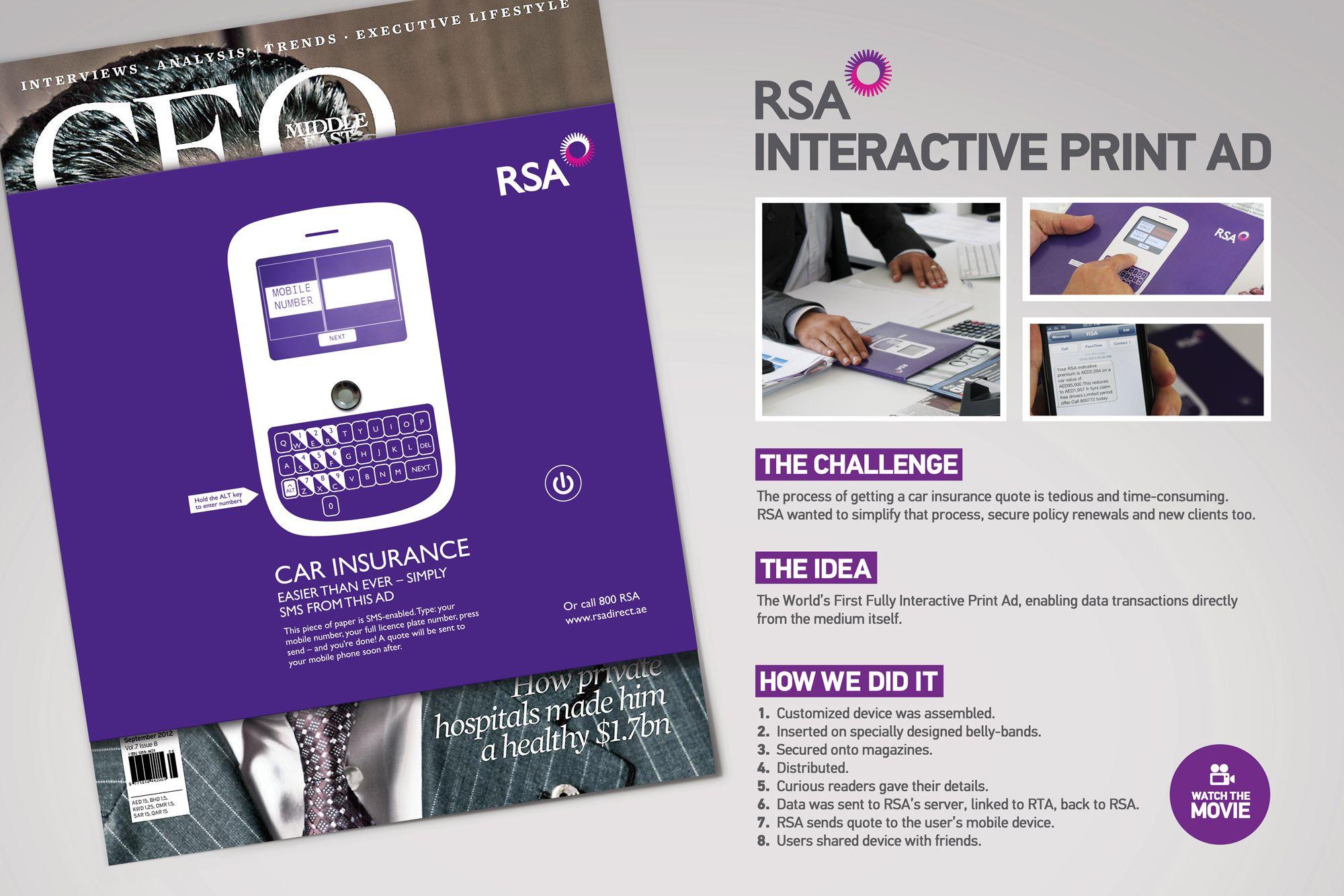 Rsa Car Insurance Interactive Print Ad Print Ads Car Insurance