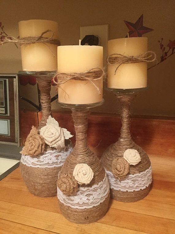 Items similar to Handmade twine wrapped wine glass candle holders on Etsy