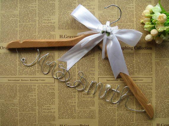 Bridesmaid white wedding hanger with ribbon