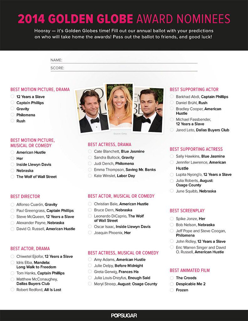 picture about Golden Globe Ballots Printable called Print Out Your Personalized Golden Globes Ballot! Motion pictures Television