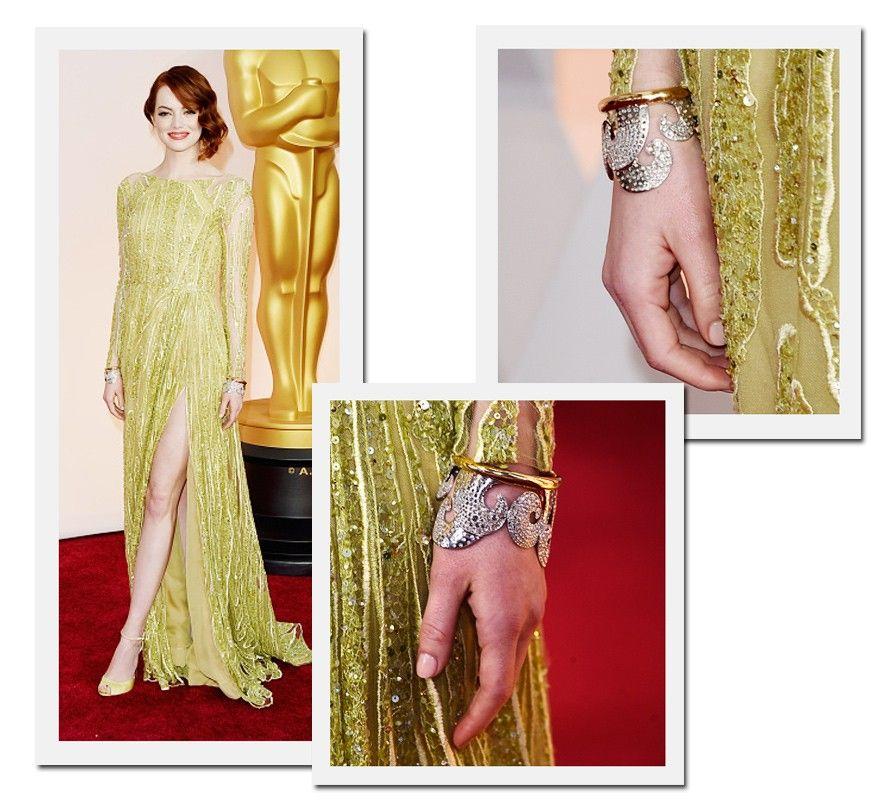 Oscar 2015: Emma Stone, indicada a melhor atriz coadjuvante por Birdman, usou braceletes idênticos Tiffany & Co nos dois pulsos (Foto: Getty Images)