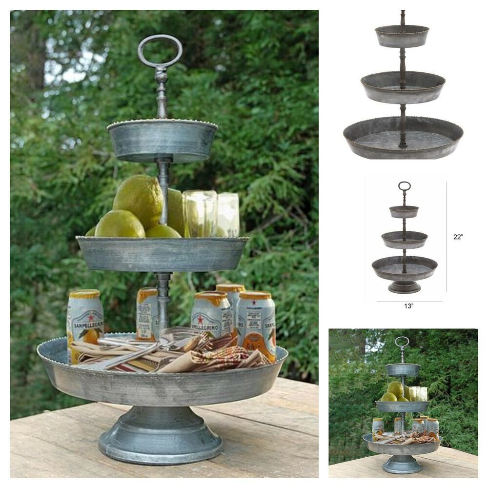 Galvanized Metal Large 3 Tier Serving Tray With Ring Top Handle Farmhouse Decor Unbranded In 2020 Country Farmhouse Decor Farmhouse Decor Galvanized Metal