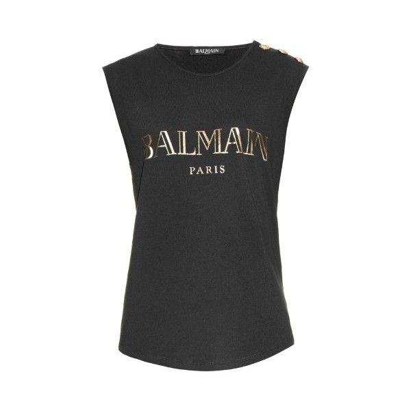 ebe1e50d1fd BALMAIN Logo-print cotton-jersey tank top ($192) ❤ liked on Polyvore  featuring tops, black, one shoulder tank, one sleeve tops, black singlet,  balmain and ...