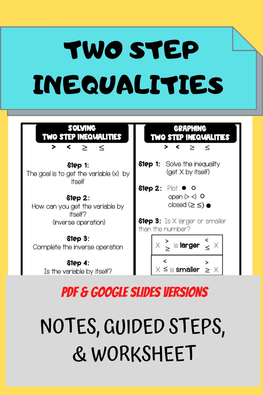 Two Step Inequalities Worksheet High School Math Activities High School Math Lessons Graphing Inequalities [ 1500 x 1000 Pixel ]