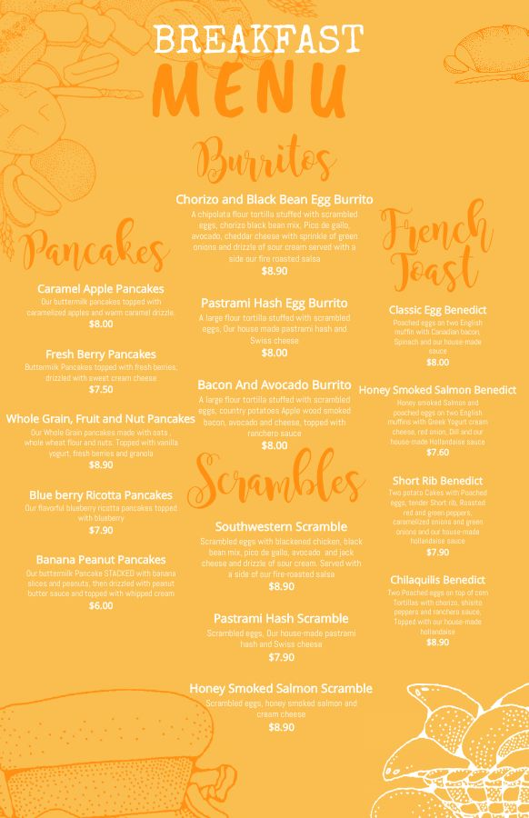 Breakfast Menu Design Template Click To Customize Menu Design Template Breakfast Menu Menu Card Design