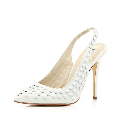 White studded sling back pointed court shoes €87.00