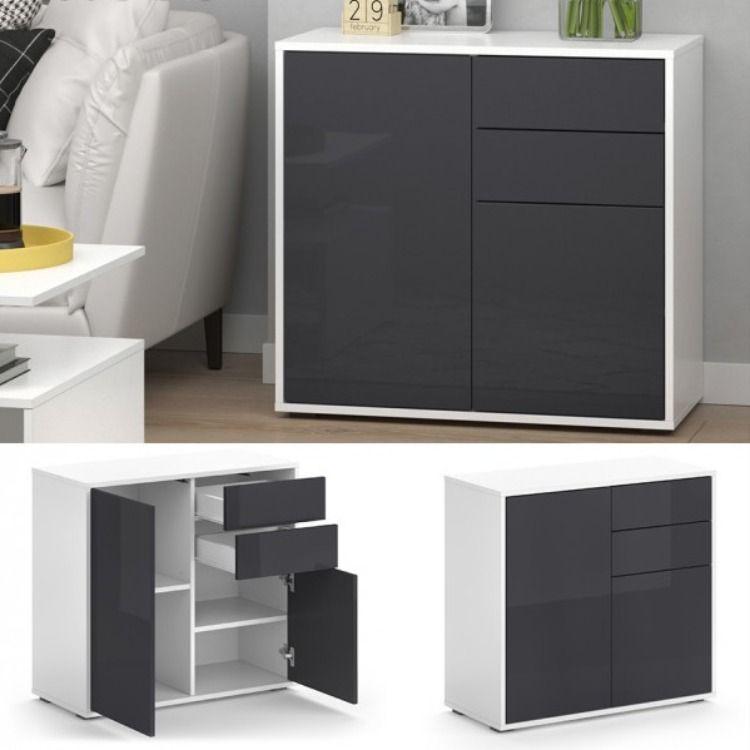 Commode De Rangement Noir Et Blanc Mia Cielterre Commerce En 2020 Rangement Noir Et Blanc Rangement Noir Rangement