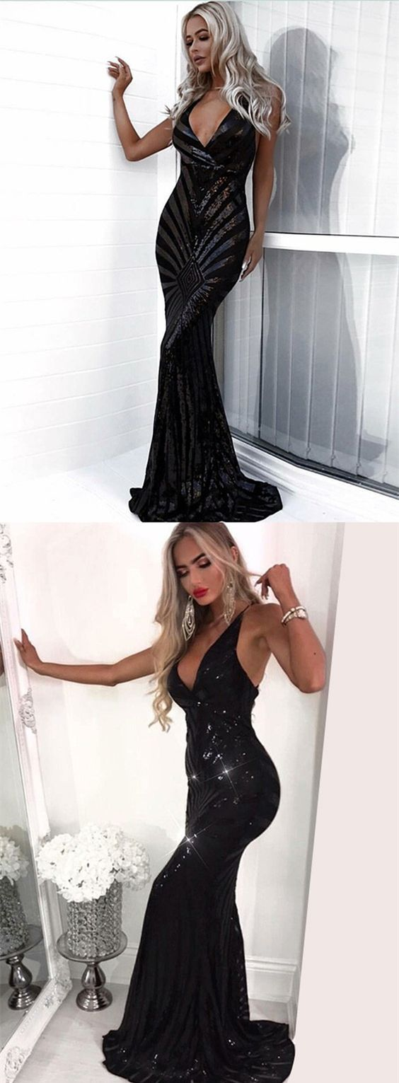 Unique black sequined mermaid prom dresses modest v neck evening