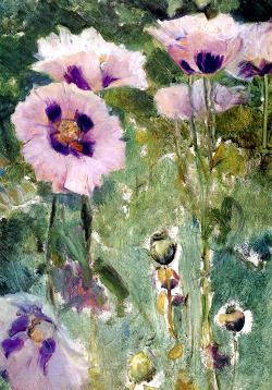 "dappledwithshadow:  "" Poppies, Pavillon Colombe  Walter Gay - 1919  Private collection  Painting - oil on panel  Height: 41.91 cm (16.5 in.), Width: 27.94 cm (11 in.)  """