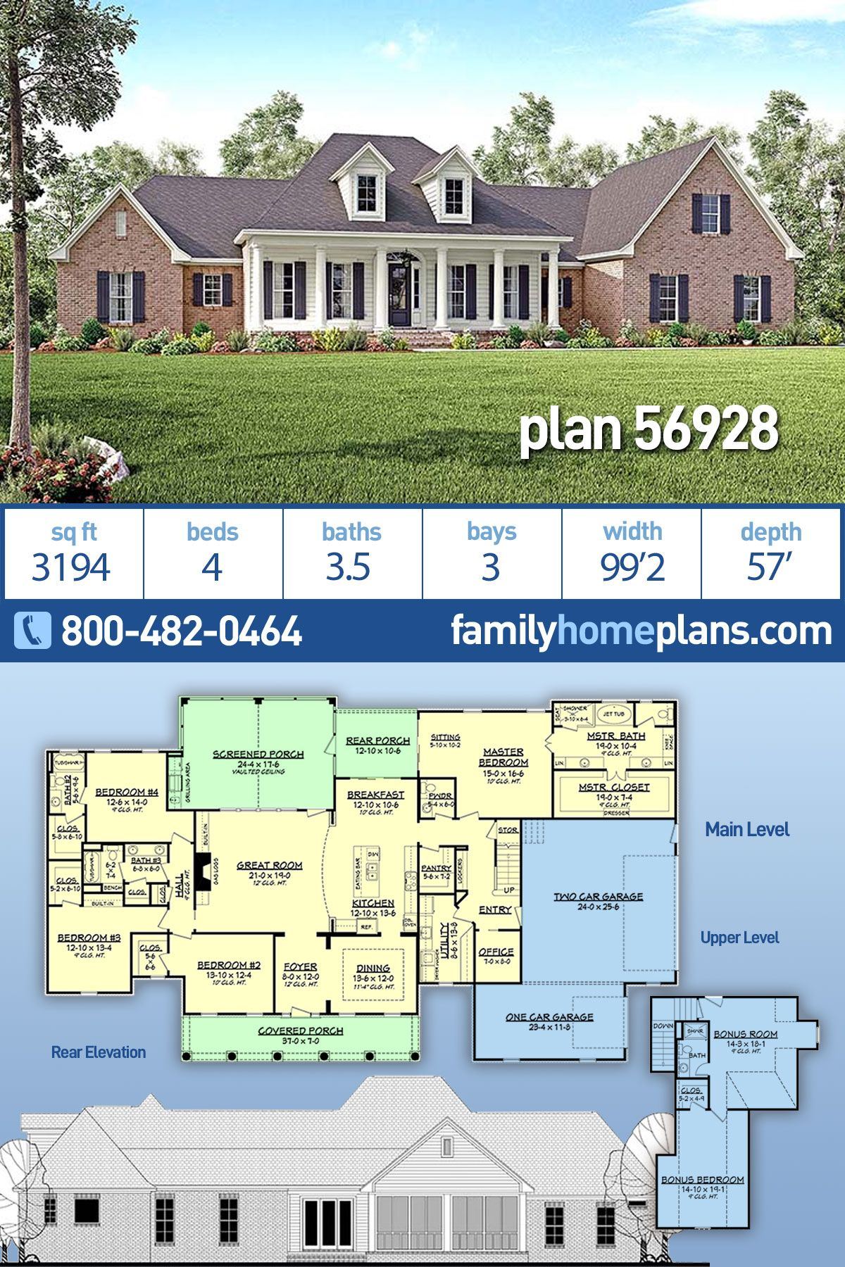 Traditional Style House Plan 56928 With 4 Bed 4 Bath 3 Car Garage Colonial House Plans House Plans Farmhouse Basement House Plans