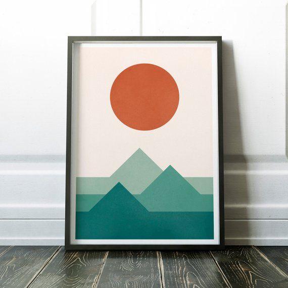 Sun and Mountains Poster, Geometric Sunset Print, Minimalist Modern Art, Scandinavian Print, Wall Decor, Sunset Print, Japanese Print