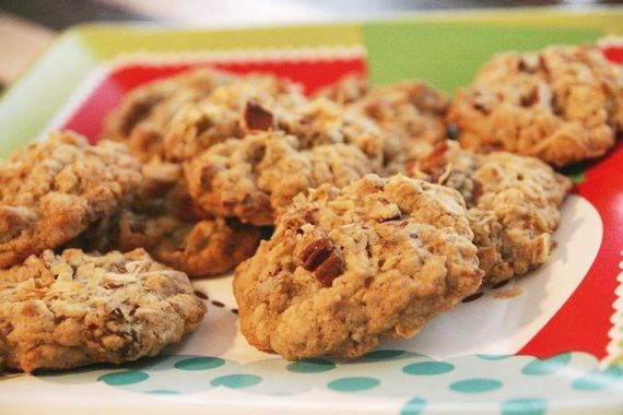 Toasted Oatmeal Cookies with Golden Raisins, Coconut and Pecans