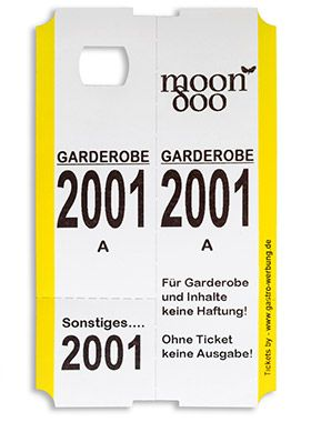 Gastro Werbung Simbeck Garderobenmarken Garderobenticket Garderobennummer Garderobenzettel Marken Zettel Online