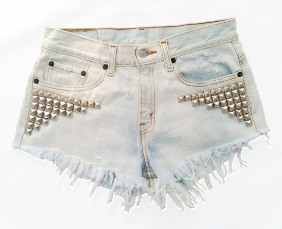 Vintage, cutoff, shredded,  destroyed,  grunge, omen eye, short, shorts, studded, distressed, denim, high waisted, cut off, omeneye.com