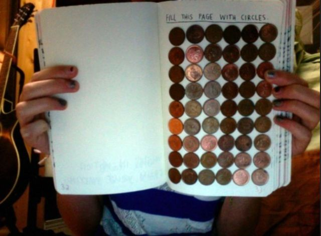 Wreck this journal: cover this entire page with circles