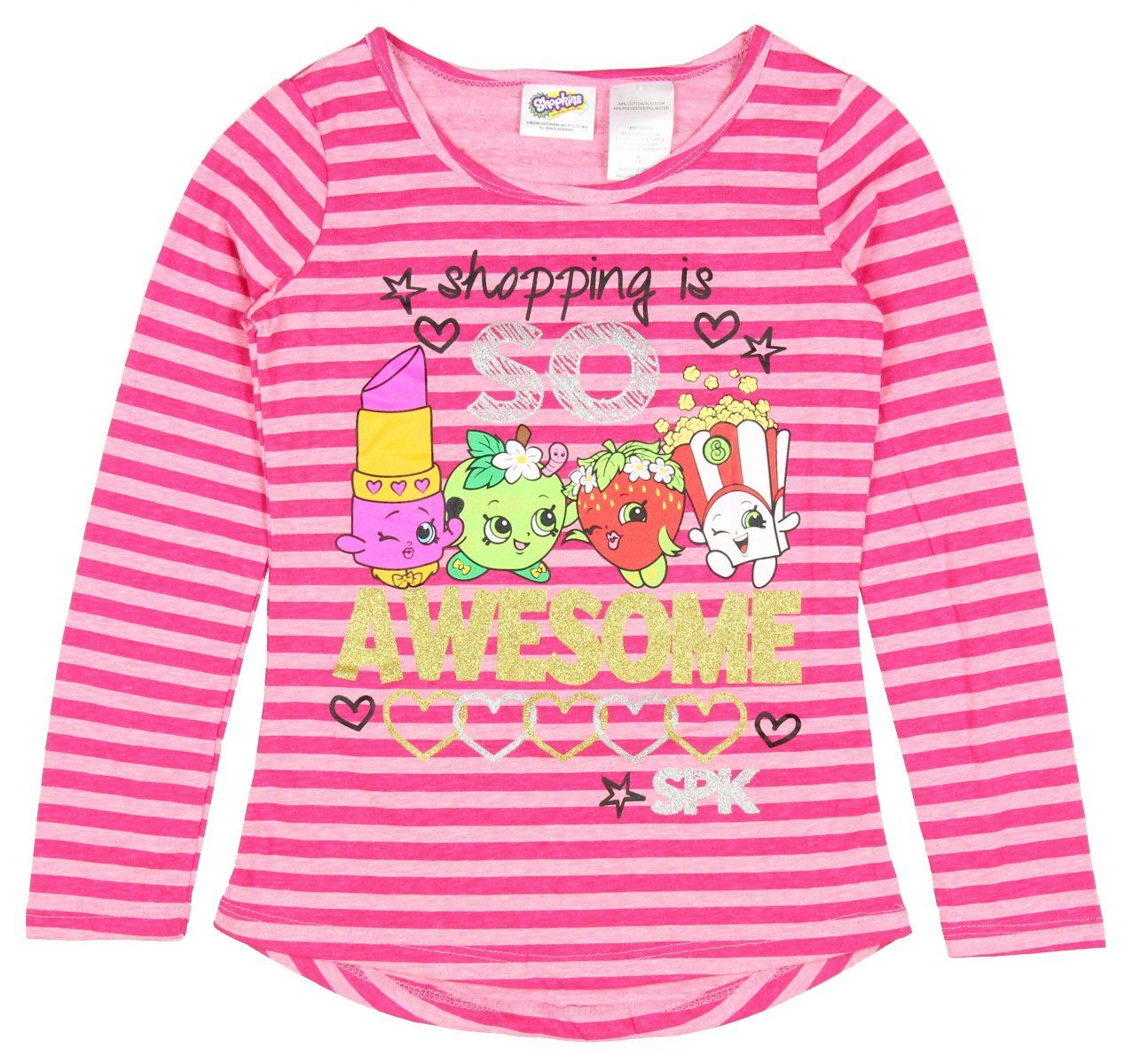 The Childrens Place Big Girls Graphic Sharkbite Long Sleeve Knit