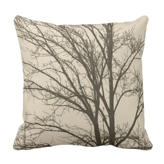 Cream Beige Brown Tree Branches Throw Pillow