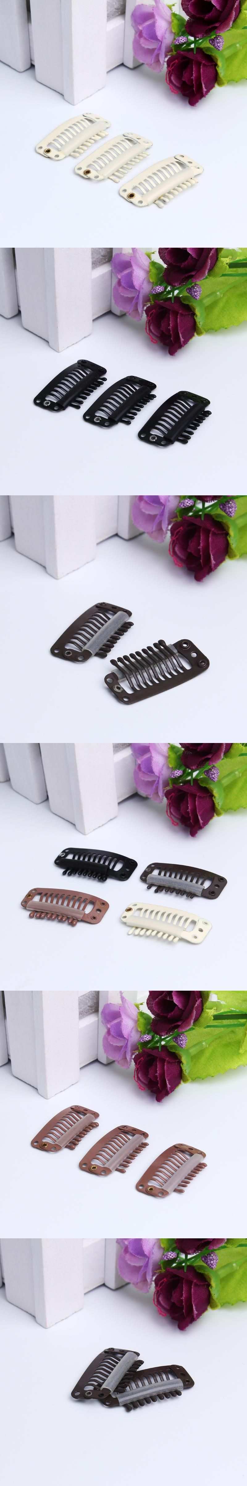 100pcs 32mm 9 Teeth Hair Extension Clips Snap Metal Clips With