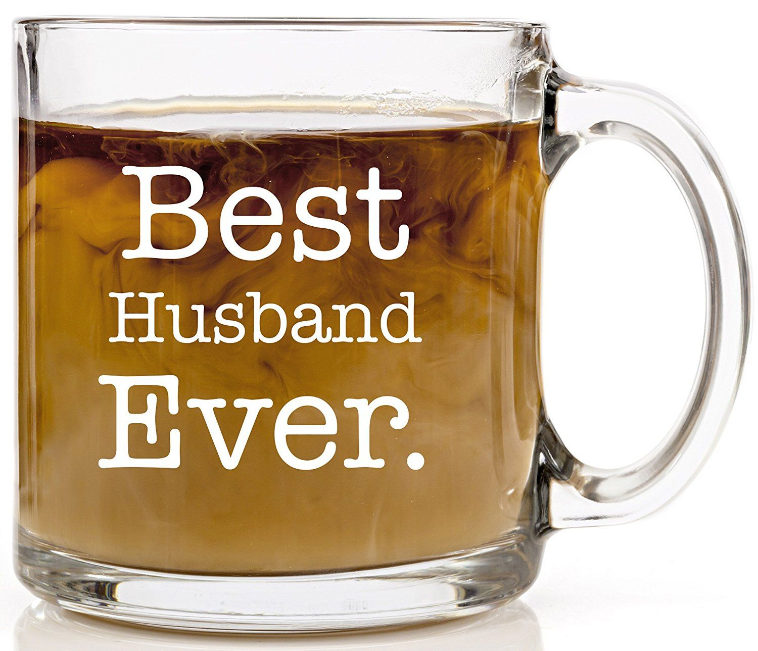 Funny Coffee Mug Best Husband Ever Anniversary, Birthday or Wedding Gift Coffee Cup 13 oz. Unique, Cool Present Idea For Father, Best Friend, Grandpa, Spouse or Dad from Wife or Kids. Clear Glass * Awesome product. Click the image : Coffee Mugs