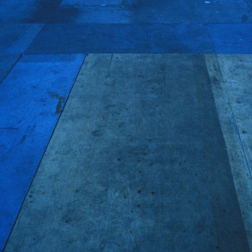This blue wood flooring is awesome to add a pop of color to a room