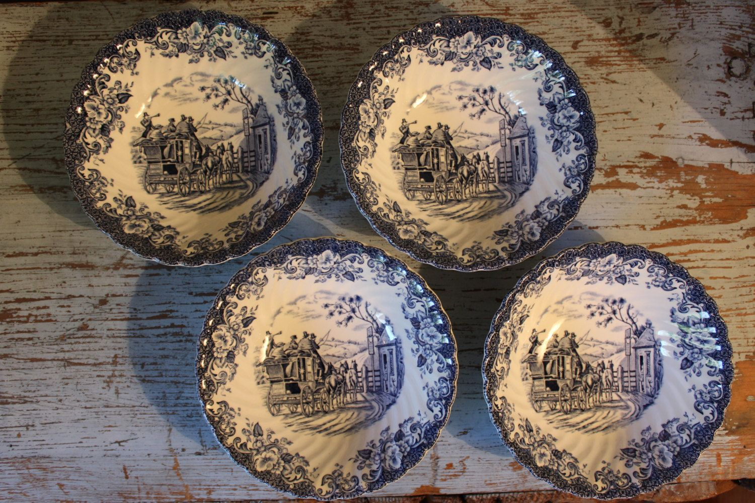 8 Vintage Coaching Scenes Dishes 4 Gatekeeper Cereal Bowls and 4 Hunting Country Bread and Butter Plates Johnson Bros Made in England by CottageBlu on Etsy