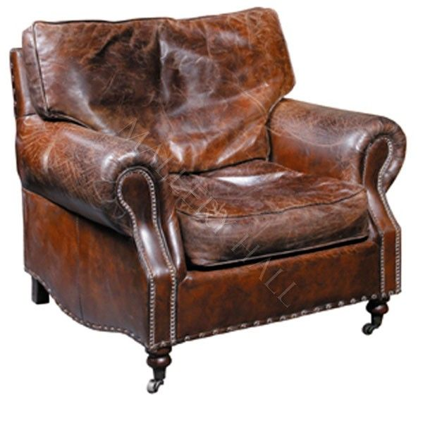Distressed Waxed Brown Leather Arm Club Chair 2800 Leather Club