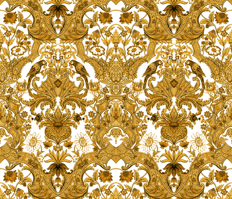 Parrot Damask ~ Gold and White by PeacoquetteDesigns on Spoonflower ...
