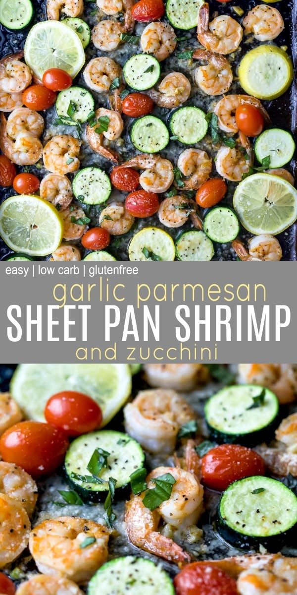 Easy Garlic Parmesan Roasted Shrimp and Zucchini images