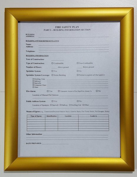 FIRE SAFETY PLAN FRAME - GOLD (STANDARD - ALUMINUM 85x11) (SAFETY
