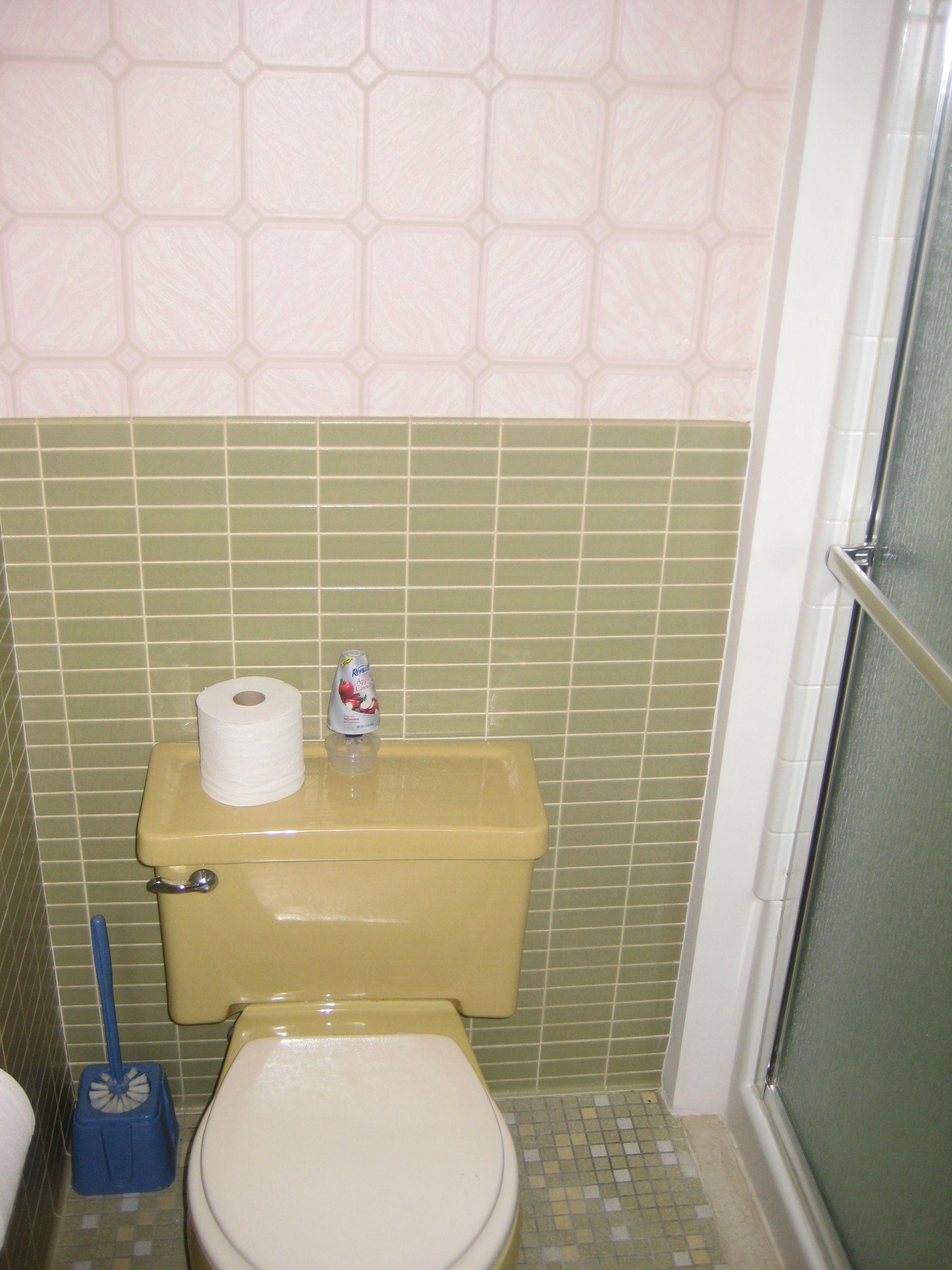 Pink wallpaper, avocado walls, harvest gold toilet, white ...
