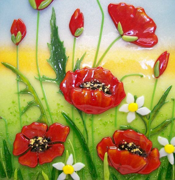Fused Glass Painting Red Poppies by CDChilds on Etsy