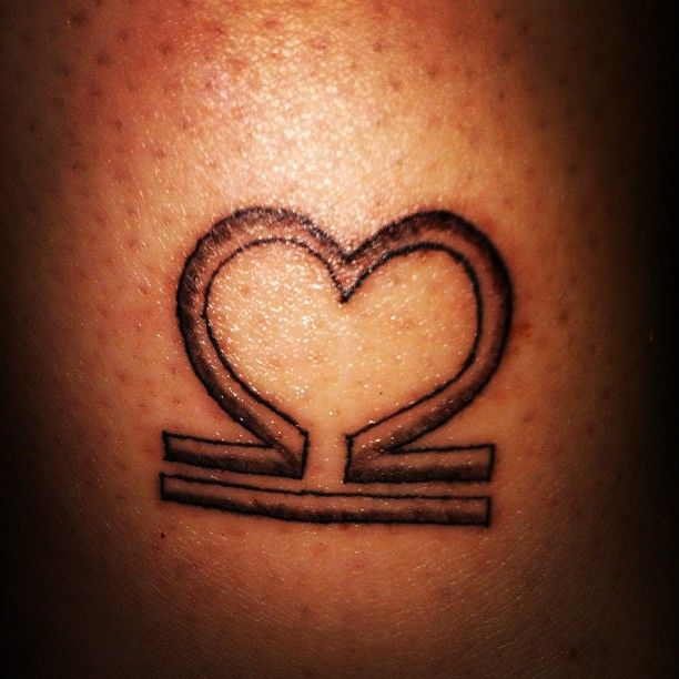 Heart Shaped Libra Zodiac Tattoo Design