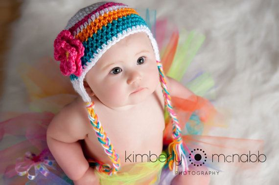 Crochet Baby Hat - Baby Girl Hat - Ear Flap Hat - Newborn Hat - Newborn  Prop - Ready to Ship - White Hot Pink Orange Blue Mint - Newborn 4c5279afbd2f
