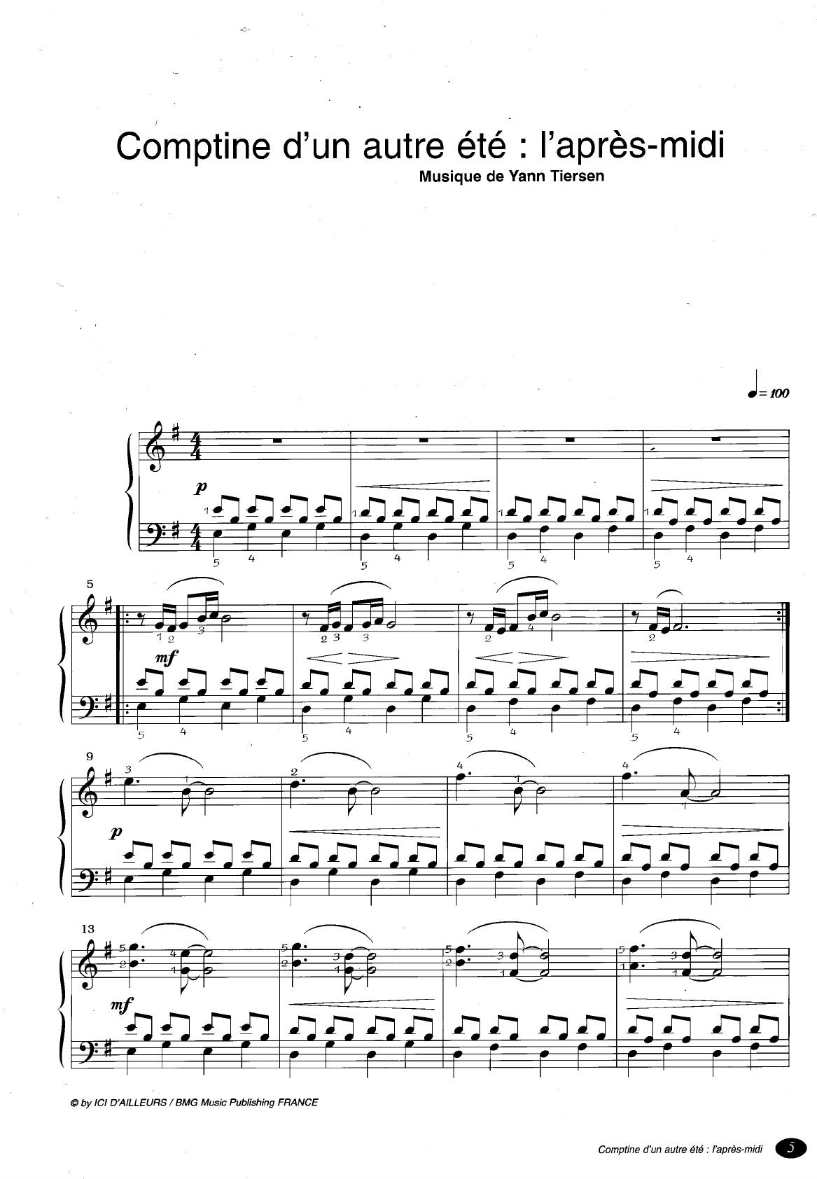 Comptine D Un Autre été Guitar Chords Sheet Music From The Movie Amelie Poulain Tiersen Partition